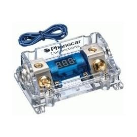 Portafusibile con Voltmetro Phonocar mod. 4/490 - Maxi lama - Nickel
