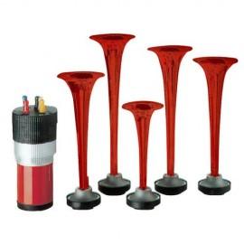 Tromba musicale la Carica 3 coni rossi con compressore e accessori plastica 12V