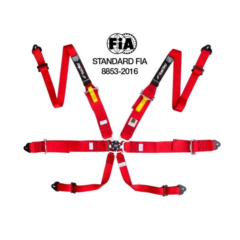 cintura di sicurezza 6 punti (HANS) omologata FIA ECE rossa/red