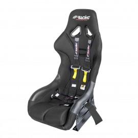 Kit omologato FIA completo di sedile, staffa e cinture nero/black