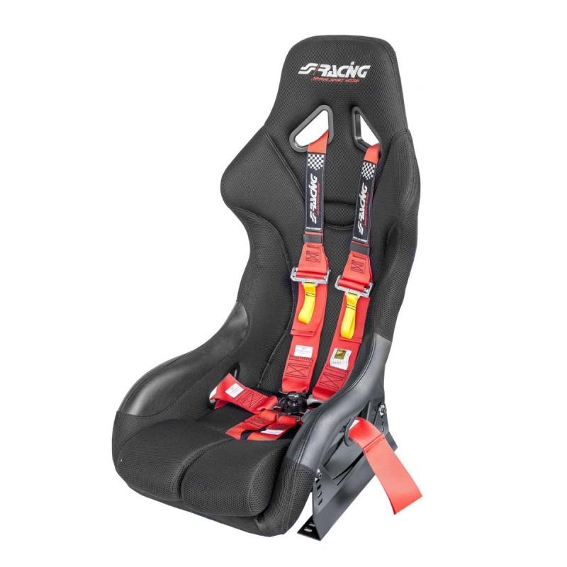 Kit omologato FIA completo di sedile, staffa e cinture rosso/red