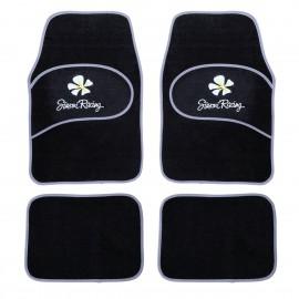Kit 4 tappeti universali con Bordo grigio doppio battitacco con fiore