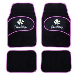Kit 4 tappeti universali con Bordo rosa doppio battitacco con fiore