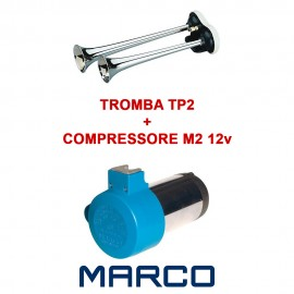 Kit Tromba TP2 Metallo Cromato + Compressore M2 12V