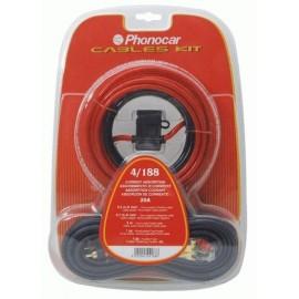 Set cavi e accessori Phonocar Mod.4/188 con cavi sez. 6 mm + cavo audio, portafusibile e accessori